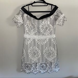 White/black off the shoulder eyelet and lace dress